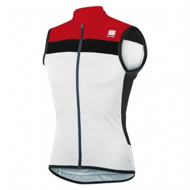 Sportful Pista sleeveless cycling jersey white/red men