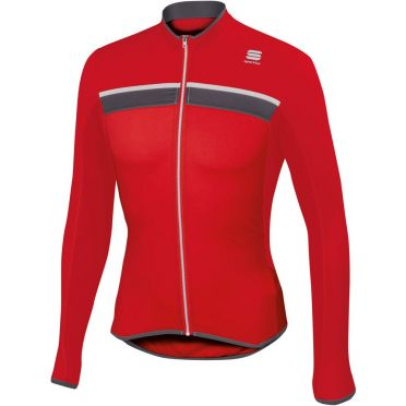 Sportful Pista long sleeve cycling jersey red/white