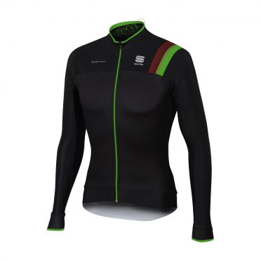 Sportful Bodyfit pro thermal long sleeve jersey black/green men