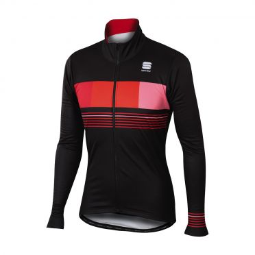 Sportful Stripe thermal long sleeve jacket black/red men