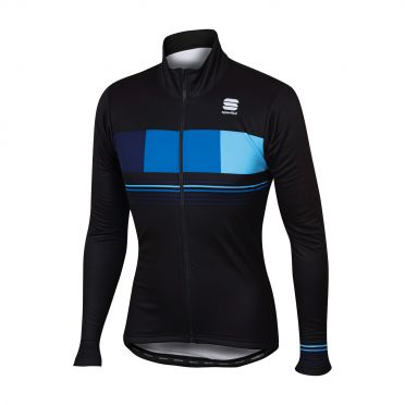 Sportful Stripe thermal long sleeve jacket black/blue men