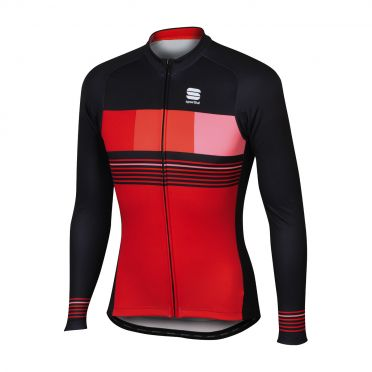 Sportful Stripe thermal long sleeve jersey red/black men