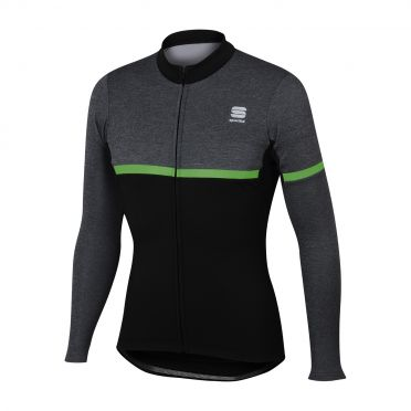 Sportful Giara warm long sleeve jersey black/green men