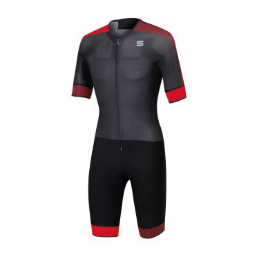 Sportful Bodyfit pro speedsuit short sleeve black/red men