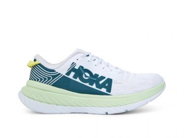 Hoka One One Carbon X running shoes white/green men