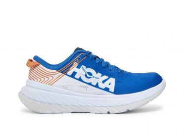 Hoka One One Carbon X running shoes white/blue men