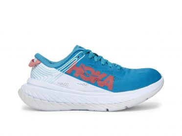Hoka One One Carbon X running shoes white/blue women