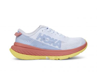Hoka One One Carbon X running shoes white/pink/yellow women