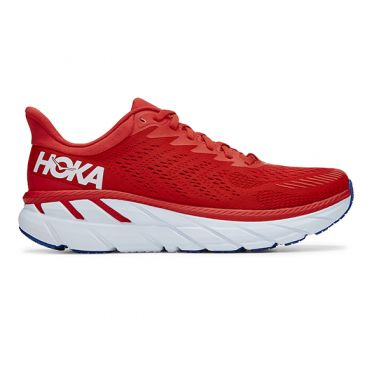 Hoka One One Clifton 7 running shoes red/white men