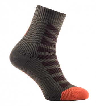 Sealskinz Road hydrostop ankle cycling socks olive/orange