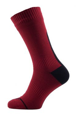 Sealskinz Road thin mid hydrostop cycling socks red/black unisex