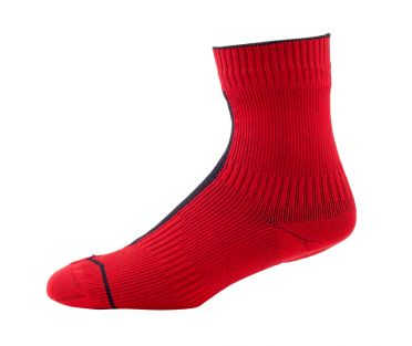 Sealskinz MTB ankle hydrostop cycling socks red/black