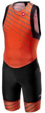 Castelli Free tri ITU suit back zip sleeveless orange men