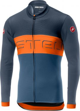 Castelli Prologo VI FZ jersey long sleeve blue/orange men