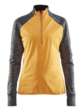 Craft Brilliant 2.0 thermal wind long sleeve running top yellow/gray women