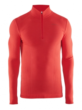 Craft Warm wool comfort zip long sleeve baselayer red men