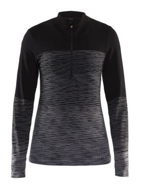 Craft wool comfort 2.0 CN zip long sleeve baselayer black women