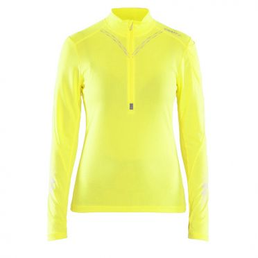 Craft Brilliant 2.0 halfzip ski mid layer yellow women