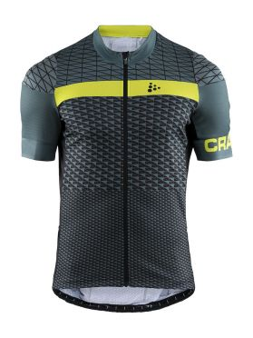 Craft Route cycling jersey short sleeve green/yellow men