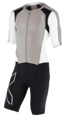 2XU Compression Full Zip sleeved trisuit black/white/grey men