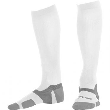 2XU Vectr merino LC Full Lenght compression high socks white/grey