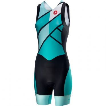 Castelli Short distance W race trisuit back zip sleeveless green/blue women