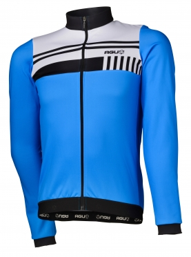 Agu Naro cycling jersey long sleeve blue/white men