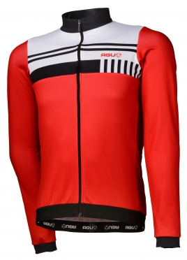Agu Naro cycling jersey long sleeve red/white men