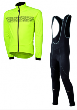 Agu Inverno light bibtight with seat pad + Nova hivis jacket yellow men
