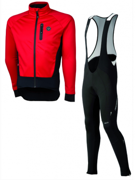 Agu Tarvisio WIND bibtight with seat pad + Tirano cycling jacket red men