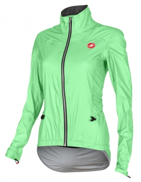 Castelli Donnina rain cycling jacket green fluo women 15564-045