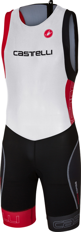Castelli Short distance tri suit sleeveless white/red men