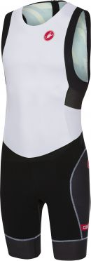 Castelli Short distance race trisuit back zip sleeveless white/black men