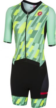 Castelli All out W speed trisuit short sleeve mint/yellow/black women