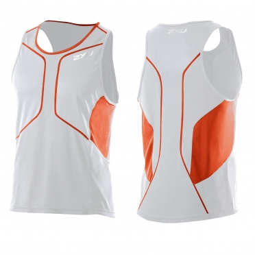 2XU Comp Run Singlet white orange (MR2285a)
