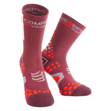 Compressport V2.1 winter bike socks burgundy