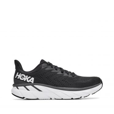 Hoka One One Clifton 7 wide running shoes black/white woman