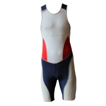 Ironman trisuit back zip sleeveless extreme suit white/blue/red men