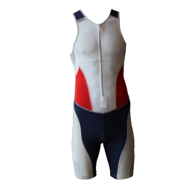 Ironman trisuit front zip sleeveless extreme suit white/blue/red men