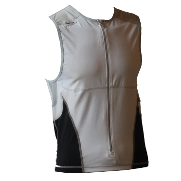 Ironman tri top front zip sleeveless bodysuit white/black men