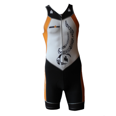 Ironman trisuit front zip sleeveless multisport tattoo white/orange men