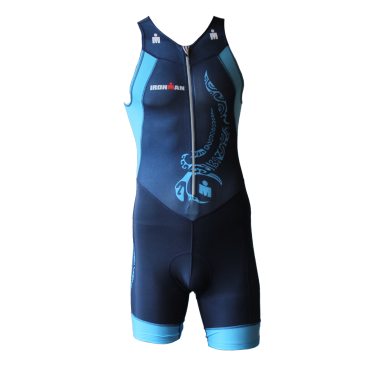 Ironman trisuit front zip sleeveless multisport tattoo blue men