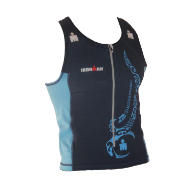 Ironman tri top front zip sleeveless multisport tattoo blue men