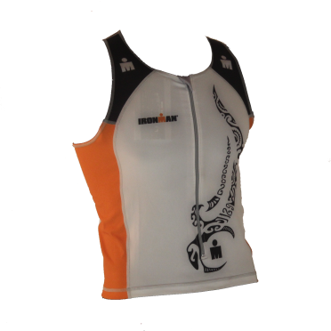 Ironman tri top front zip sleeveless multisport tattoo white/orange men