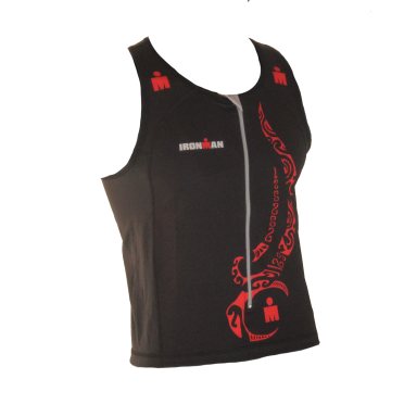 Ironman tri top front zip sleeveless multisport tattoo black/red men