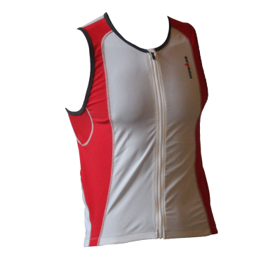 Ironman tri top front zip sleeveless 2P white/red men