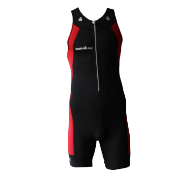 Ironman trisuit front zip sleeveless multisport black/red heren