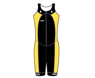 Ironman trisuit front zip sleeveless multisport black/yellow heren