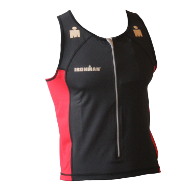 Ironman tri top front zip sleeveless T-zip black/rood men