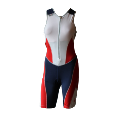 Ironman trisuit front zip sleeveless bodysuit white/blue/red women